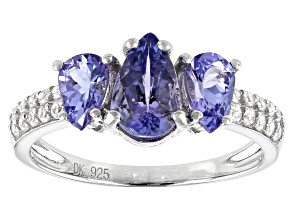 Blue Tanzanite Rhodium Over Silver Ring 1.62ctw