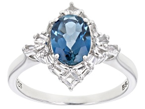 Blue topaz rhodium over sterling silver ring 1.68ctw