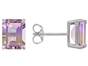 Bi-Color Ametrine Rhodium Over Silver Earrings 4.25ctw