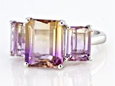 Bi-Color Ametrine Rhoidum Over Silver Ring 6.21ctw