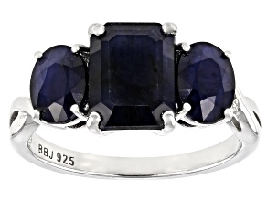 Blue Sapphire Rhodium Over Sterling Silver Ring 3.75ctw