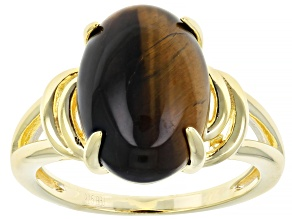 Brown tigers eye 18k yellow gold over sterling silver solitaire ring