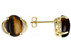 Brown tigers eye 18k yellow gold over silver stud earrings