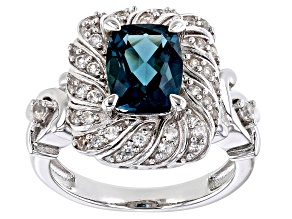 Blue  London blue topaz rhodium over sterling silver ring 2.76ctw