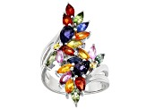 Mixed-colors Sapphire Rhodium Over Silver Ring 3.73ctw