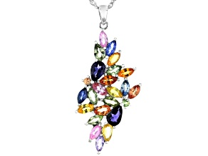 Mixed-color Sapphire Rhodium Over Silver Pendant With Chain 4.02ctw