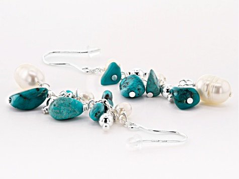 Blue Turquoise Silver Necklace & Earrings Set