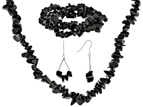 Black onyx necklace, bracelet and earrings rhodium over silver set