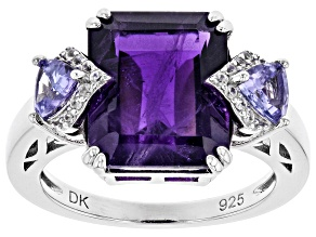 Purple Amethyst Rhodium Over Silver Ring 6.03ctw