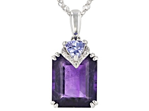 Purple Amethyst Rhodium Over Silver Pendant With Chain 5.65ctw