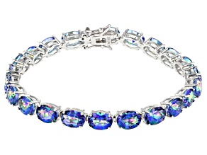 Blue Petalite Rhodium Over Silver Bracelet 18.51ctw