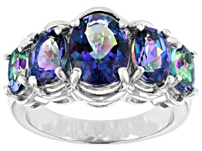 Blue Petalite Rhodium Over Silver Ring 3.15ctw