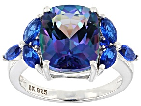 Blue Petalite Rhodium Over Sterling Silver Ring 4.42ctw