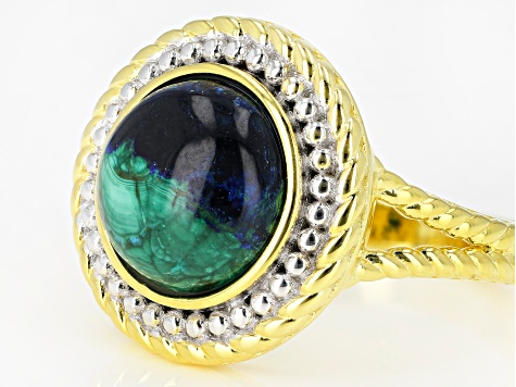 Blue azurmalachite 18k yellow gold over silver ring