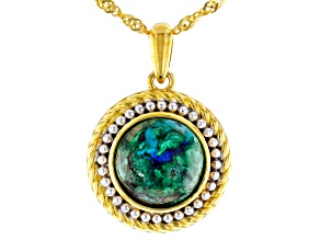 Blue azurmalachite 18k yellow gold over silver pendant with chain