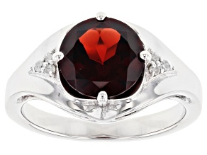 Red Garnet Rhodium Over Silver Ring 2.93ctw