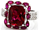 Red Lab Created Ruby Rhodium Over Silver Ring 6.70ctw