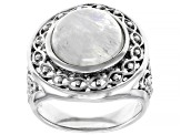 White rainbow moonstone rhodium over sterling silver solitaire ring