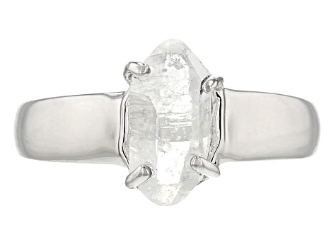 White Doubly Terminated Quartz Rhodium Over Sterling Silver Ring
