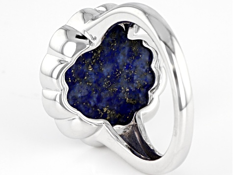 Blue Lapis Lazuli Rhodium Over Silver Ring