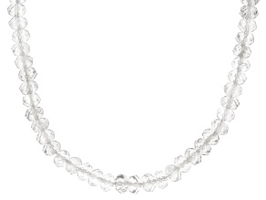 White Rock Crystal Quartz Rhodium Over Sterling Silver Necklace