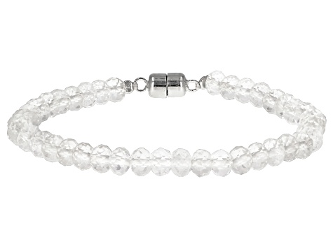 White Doubly Terminated Quartz Rhodium Over Sterling Silver Bracelet
