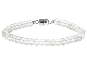 White Rock Crystal Quartz Rhodium Over Sterling Silver Bracelet