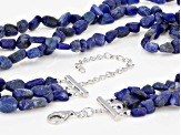 Blue Lapis Lazuli Sterling Silver 3-Row Necklace