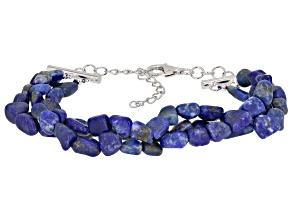 Blue Lapis Lazuli Sterling Silver 3-row Bracelet