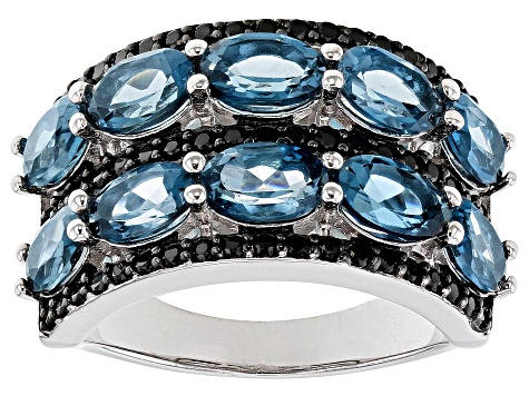 London Blue Topaz Rhodium Over Silver Ring 5.65ctw
