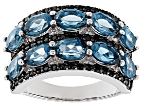Blue Topaz Rhodium Over Silver Ring 5.65ctw