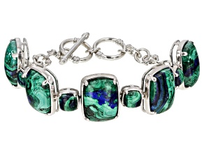 Blue Azurmalachite Rhodium Over Silver Bracelet