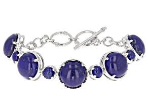 Blue Lapis Lazuli Rhodium Over Silver Bracelet