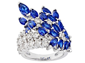 Blue Lab Created Spinel Rhodium Over Silver Ring 6.24ctw