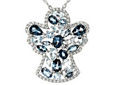 Blue Topaz Rhodium Over Silver Angel Pendant With Chain 6.05ctw