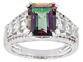 Mystic Fire(R) Topaz Rhodium Over Silver Ring 4.64ctw