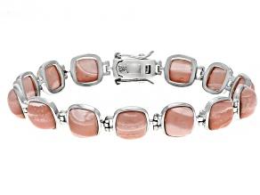 Pink Mookaite Rhodium Over Sterling Silver Bracelet