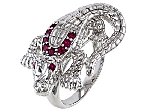 Red ruby Rhodium Over Sterling Silver Alligator Ring 0.37ctw