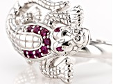 Red African Ruby Rhodium Over Sterling Silver Alligator Ring .28ctw