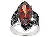 Red Labradorite Rhodium Over Silver Ring 6.94ctw