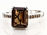 Brown Smoky Quartz Rhodium Over Sterling Silver Ring 2.47ctw