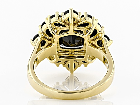 Black spinel 18k yellow gold over silver ring 3.90ctw