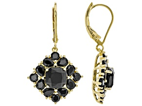 Black spinel 18k yellow gold over silver earrings 5.94ctw