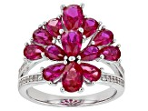 Red Lab Created Ruby Rhodium Over Sterling Silver Ring 3.13ctw