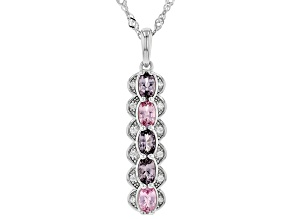 Multi-Color Spinel Rhodium Over Silver Pendant With Chain 1.17ctw