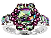 Green Mystic Fire(R) Topaz Rhodium Over Silver Ring 4.07ctw