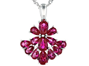 Red Lab Created Ruby Rhodium Over Sterling Silver Pendant with Chain 3.01ctw