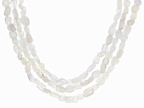 White Moonstone Nuggets Sterling Silver 3-Row Necklace
