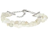 White Moonstone Nuggets Sterling Silver 3-Row Bracelet