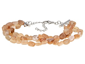 Peach Moonstone Sterling Silver 3-Row Bracelet